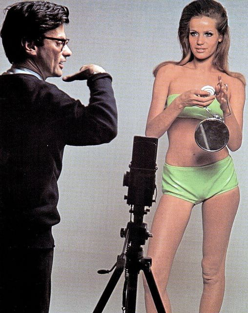 Richard Avedon and the model Veruschka, during a photo shoot for American Vogue in 1965.