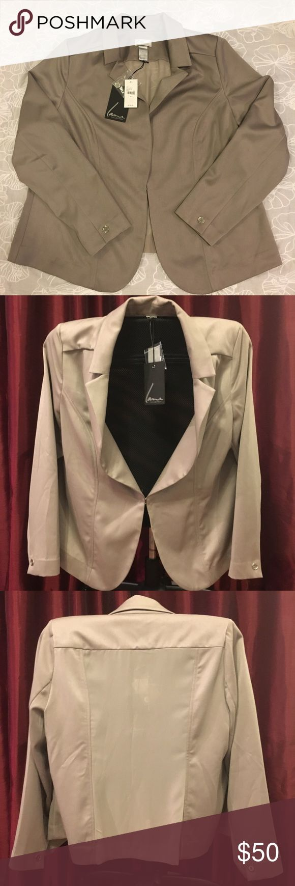 """NEW with tags! Lane Bryant beige blazer Sz 18 NWOT!  Lane Bryant Collection beige blazer size 18.  Beautiful blazer with sheer backing, shoulder pads, 1 clasp midsection to secure. Comes with extra replacement button. Sexy and sophisticated, this blazer can take you from work to an evening out on the same day.    Size 18 Material:  77% polyester, 21% rayon, 2% spandex   Approximate measurements laid flat- Width (Armpit to Armpit):  22"""" Length (shoulder to hem):  27""""  From a smoke-free home…"""