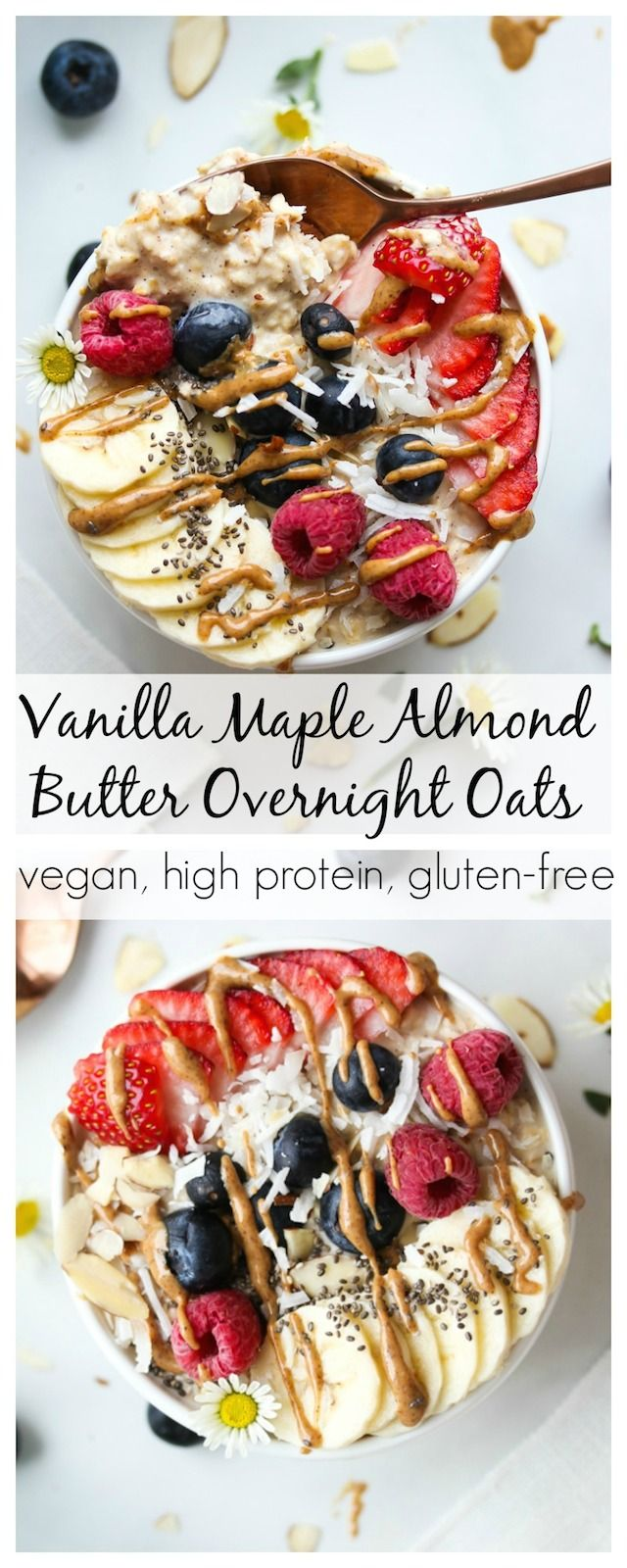 Easy and Simple Vanilla Maple Almond Butter Overnight Oats made with only 5 ingredients! Healthy, gluten-free and dairy-free. | dishingouthealth.com
