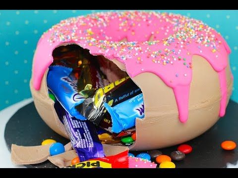 ▶ GIANT DONUT PINATA - Candy Filled Gigantic Smash Doughnut | My Cupcake Addiction - YouTube