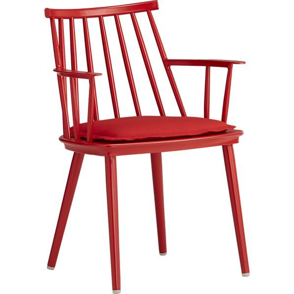 Crate And Barrel Union Red Dining Arm Chair With Sunbrella Ribbon Cushion Garden