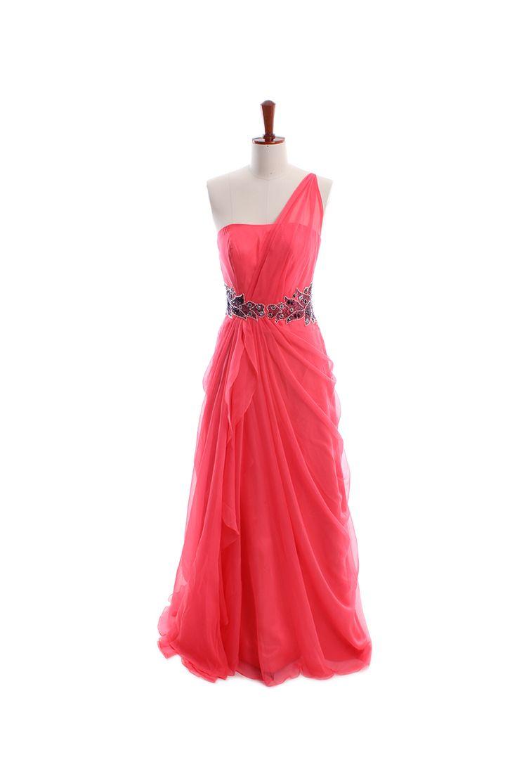 Elegant one shoulder chiffon gown