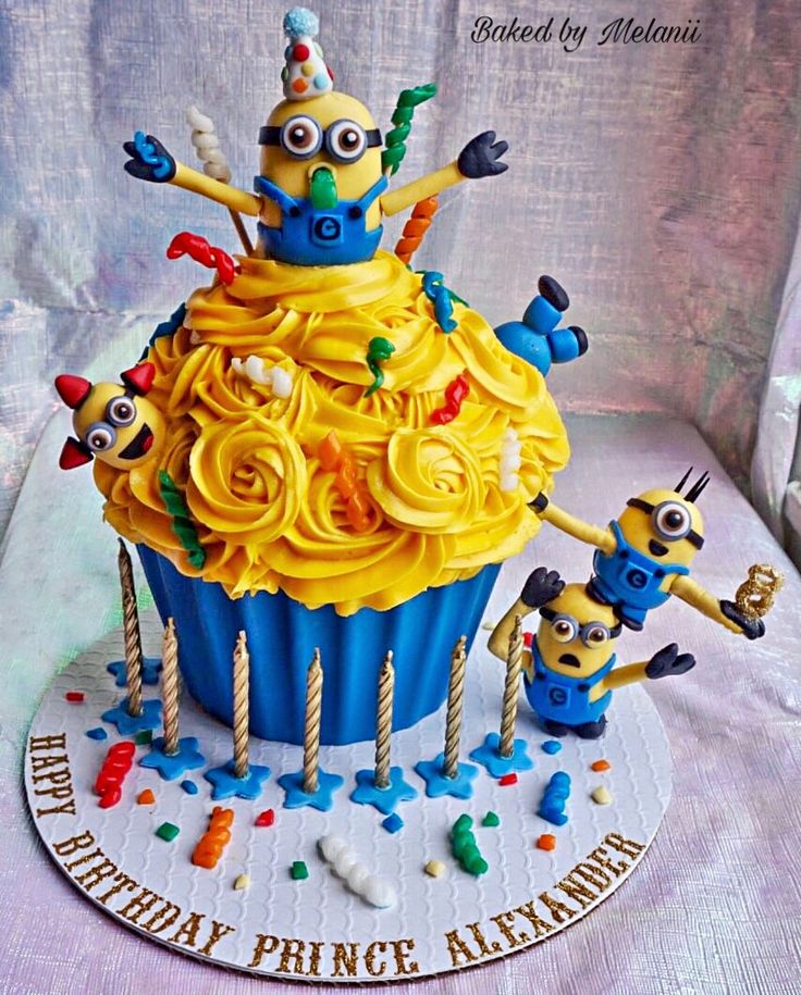 Minion Cake For Minion Party, Giant Cupcake, Minion Cupcakes, Minion party ideas