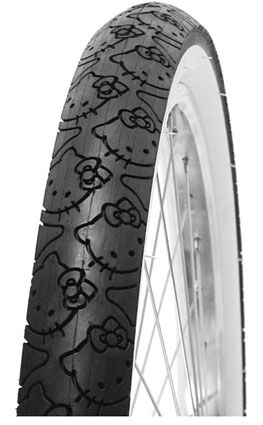 Bicycle tire rocks Hello Kitty tread pattern, world