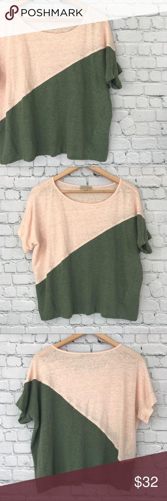 {Bordeaux} Anthropologie Linen Colorblock Top Excellent used condition! 100% Linen. Perfect with white jeans. Anthropologie Tops Blouses