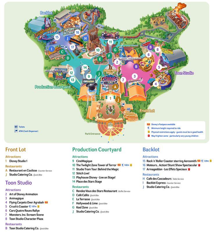 Map of Walt Disney Studios park of Paris http://parismap360.com/disneyland-paris-map#.WIruDd0izv8