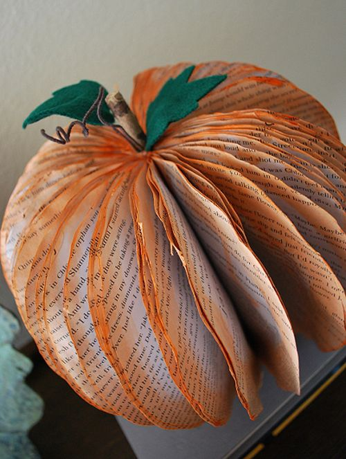 really cute!  pumpkin made from an old paperback book.  Found on http://www.bitrebels.com