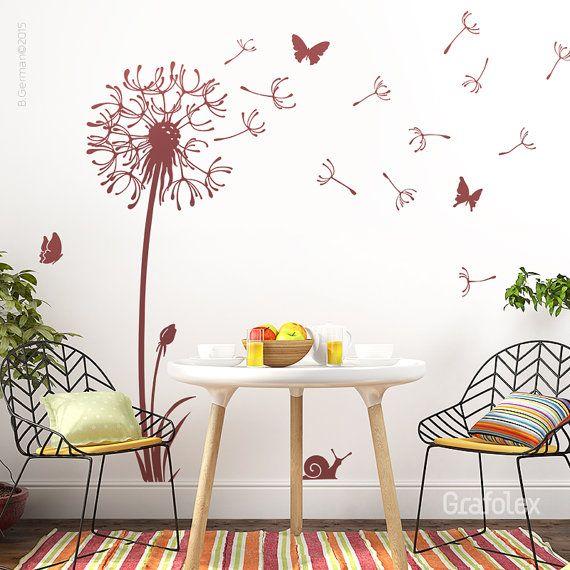 Unique Wandtattoo Pusteblume mit Flugsamen Schmetterlinge L wenzahn Wandsticker Wandaufkleber Wand Deko Aufkleber Tattoo Zimmer Raumgestaltung w