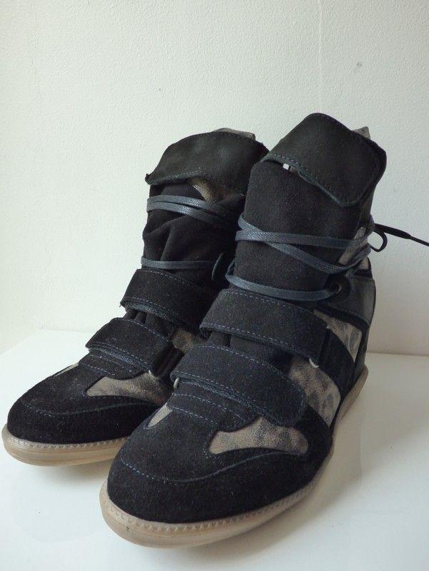 Sneakers compensées Ikks en cuir noir et effet léopard
