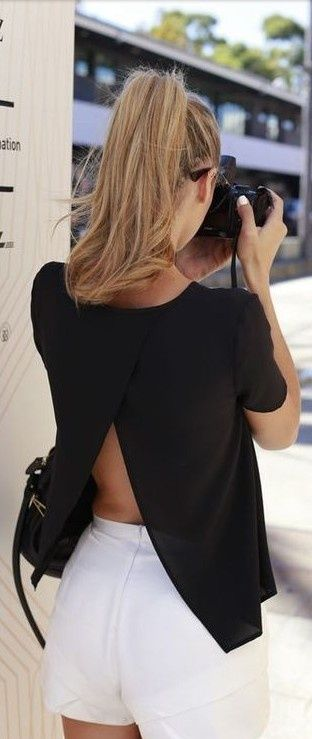 open back shirt with mini skirt...would love a tank like this...