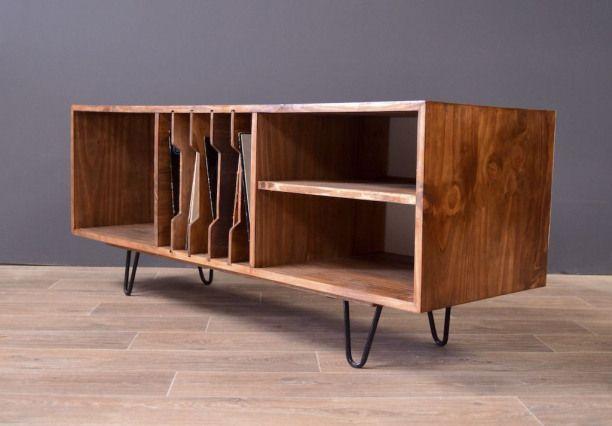 Meuble Tv Vinyle Esprit Vintage Lantigone Meubles Et Rangements Par Lantigone Audiophile Audiophile Stand Hifi Furniture Vinyl Record Furniture Furniture