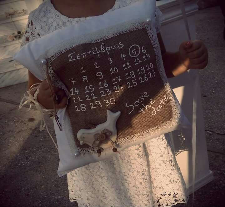 Handmade pillow for wedding/ save the date!!