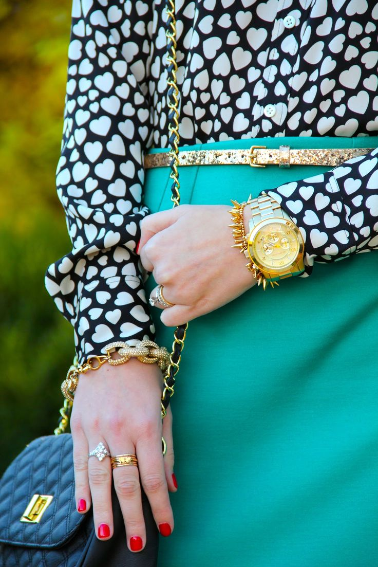 A pop of teal with a printed blouse... perfect. Also, I love hearts. Also, I need a new watch... And I love the fall colors you've suggested. Teal and mustard are my favorite but all three are beautiful.