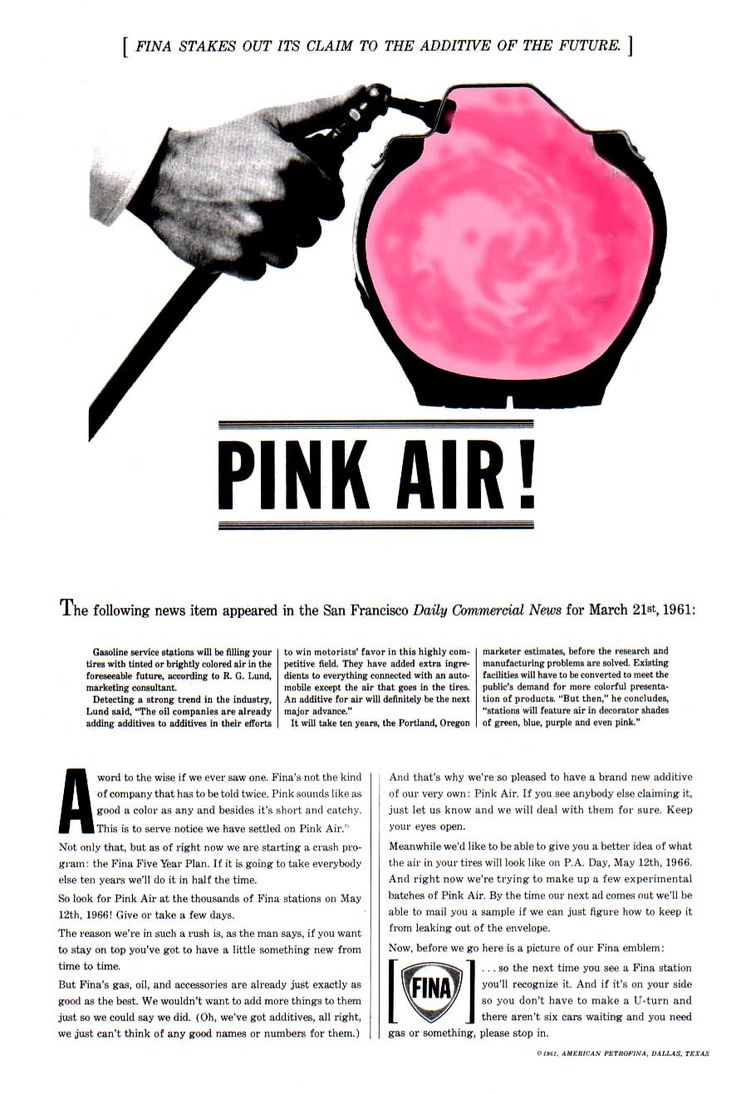 """""""Pink Air!"""". Ad for FINA by Howard Luck Gossage"""