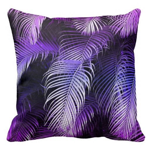 Tropical Purple Palm Leaves Throw Pillow