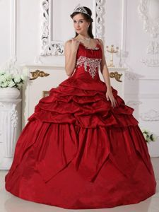 Beaded Scoop Wine Red Quinceanera Dress with Pick-ups