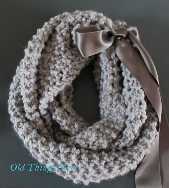 The silky ribbon tie is another lovely contrast with the chunky wool here.