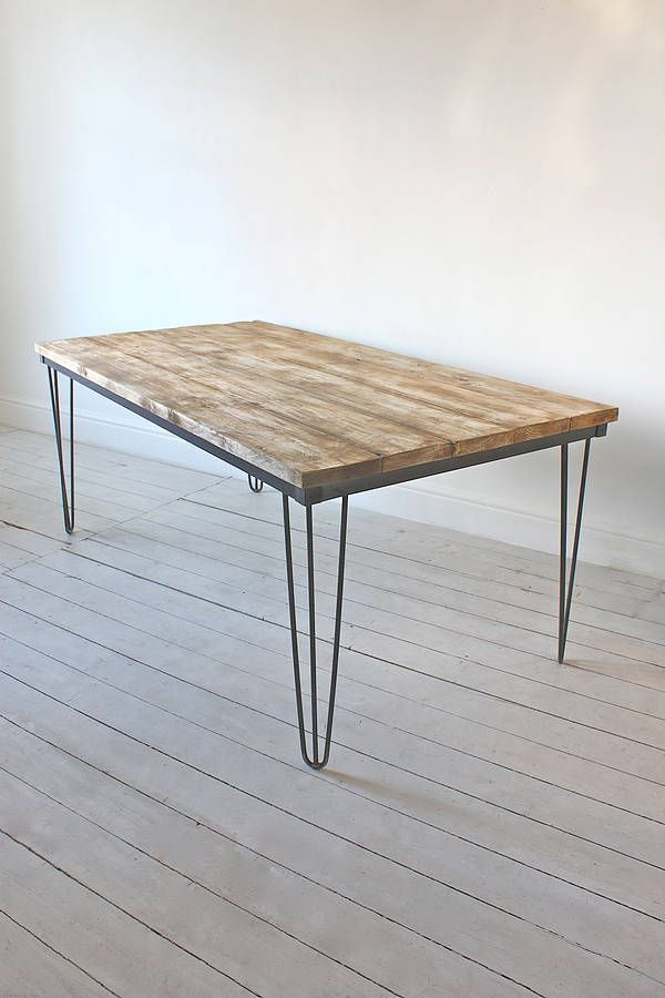 dining table with dark steel hairpin legs by inspirit | notonthehighstreet.com