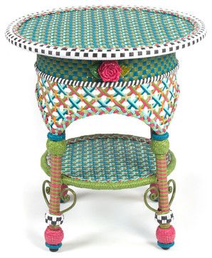 Good Greenhouse Outdoor End Table | MacKenzie Childs Eclectic Outdoor Tables