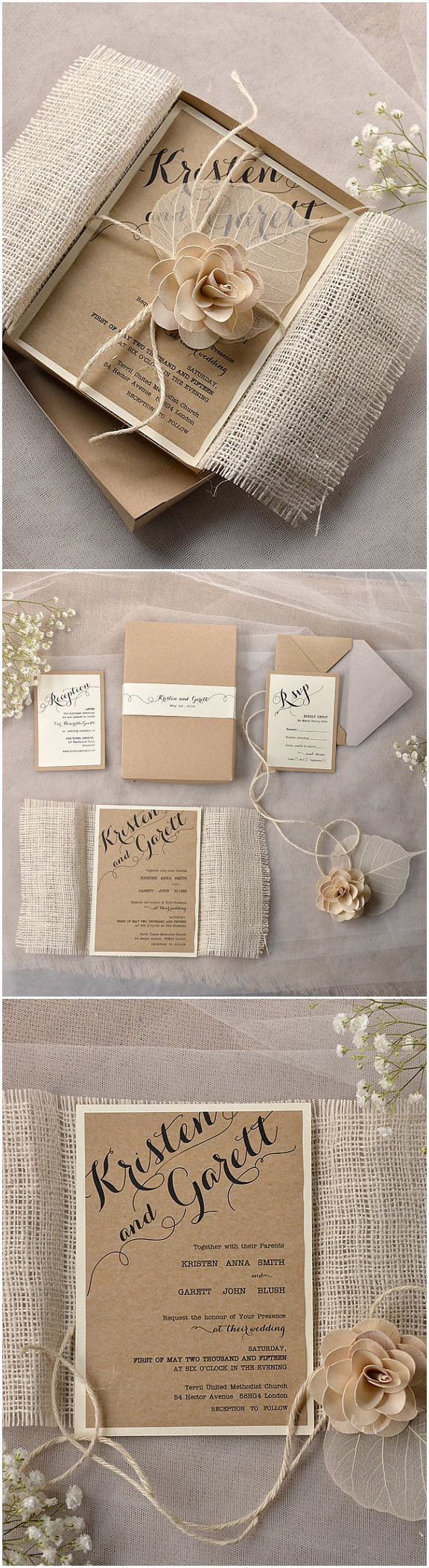Lace And Burlap Rustic Box Wedding Invitations With Flowers