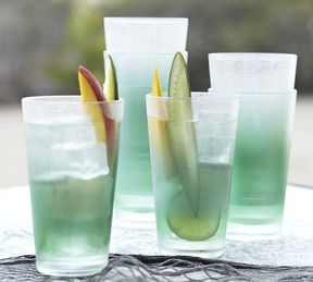 So I can sip ice tea out of sea glass all day long?!!! Pottery Barn Sea Glass Outdoor Drinkware, Set of 4