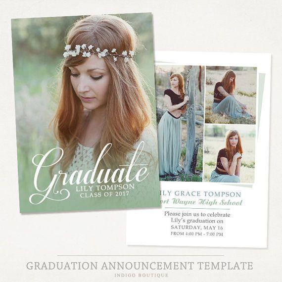Senior Graduation Announcement Template for by IndigoBoutique