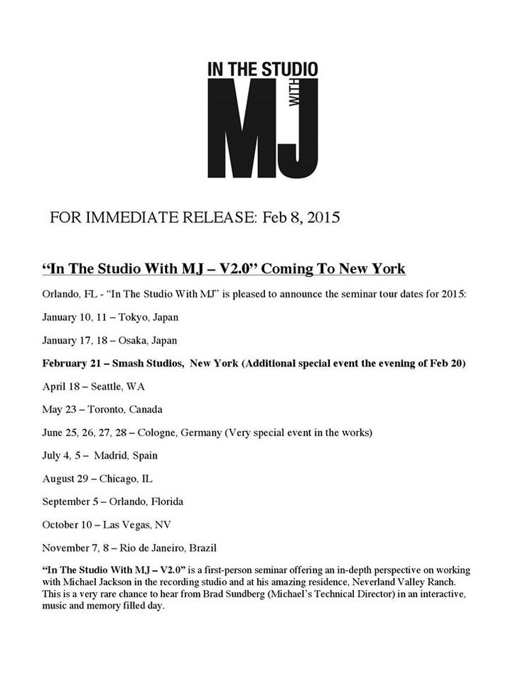 ITSWMJ is coming to a town near you -- for full details, visit http://inthestudiowithmj.com/events/