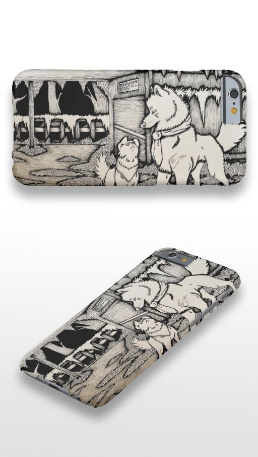 """""""In Early December"""" Black and white illustrated wolf and dog couple iPhone 6 Case"""