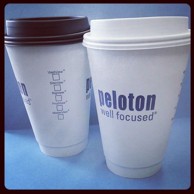 Be sure to maximize the print space that you have on a cup, like Peloton does - print on all sides, while still keeping the design clean. #coffee #tea #cup #design #peloton #print #marketing #idea #drilling #software #canada #canadian #calgary #alberta