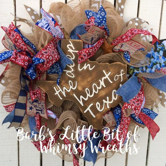 Deep in the Heart of Texas Texas Wreath by lilbitofwhimsywreath