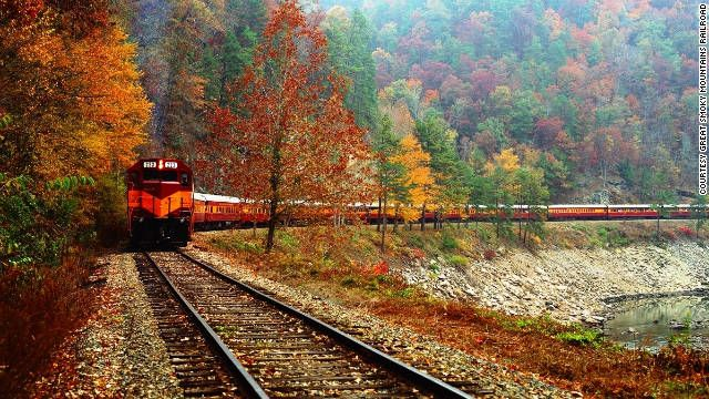 In North Carolina, the Great Smoky Mountains Railroad has two autumn color excursions. Departs from Bryson City, NC & travels along the Little Tennessee & Nantahala rivers (4.5 hr round trip), or the Tuckasegee River to the village of Dillsboro & back. Tickets are very reasonable. . . . . ღTrish W ~ http://www.pinterest.com/trishw/ . . . . #South #Southern