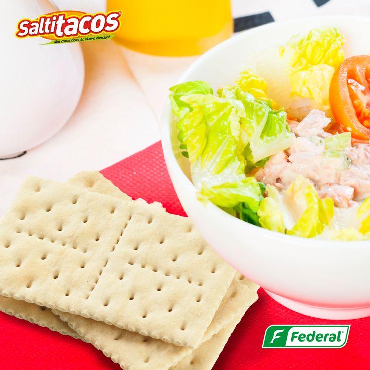 ¡Una compañía a lo saludable!  Apórtale un poco de crocancia a esa sana alimentación y date gusto con el delicioso sabor de Saltitacos.  #GalletasFederal