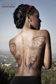 LOVEEEEEE Dawn Richard's tattoo cross between angel wings and butterfly wings BACK tattoo