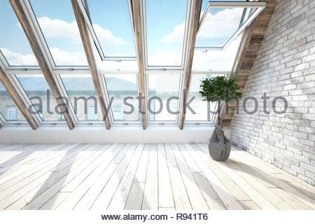 Innenraum der Dachboden mit brith Fenster im Dach, Boden