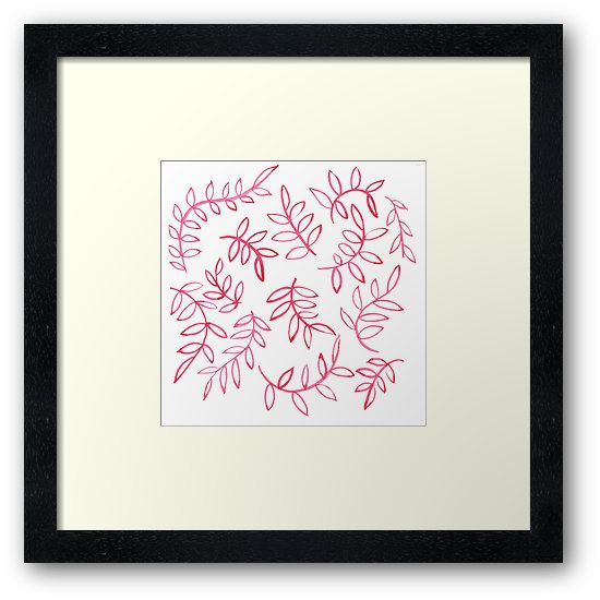 """""""Red floral leave and brunch. Pattern"""" Framed Prints by russiangirl   Redbubble"""