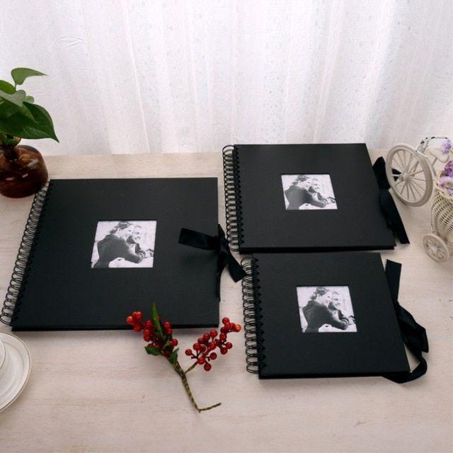 Preto Album De Fotos Diy Livro De Convidados Do Casamento