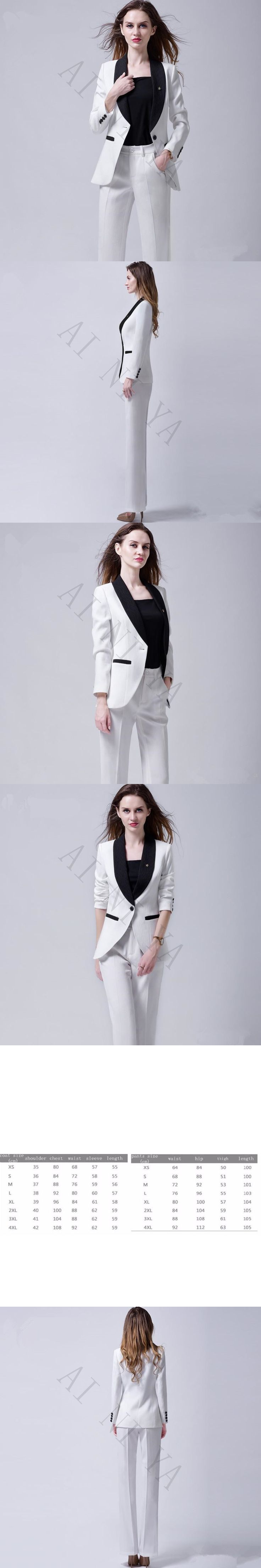 Women 2 Pieces Sets Womens Business Suits Formal OL Long Sleeve Ladies Trouser Suit Female Office Uniform Single Breasted