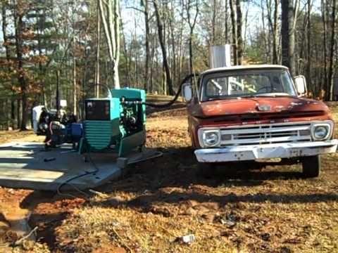 The wood gas generator runs the whole farm!