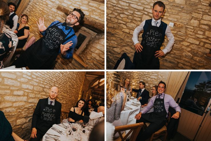 Personalised aprons for the prestigious and very proud pie masters. Photo by Benjamin Stuart Photography #weddingphotography #piemaster #weddingfun #weddingbreakfast #foodtime