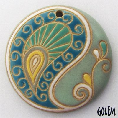 Paisley, large round, blue/green