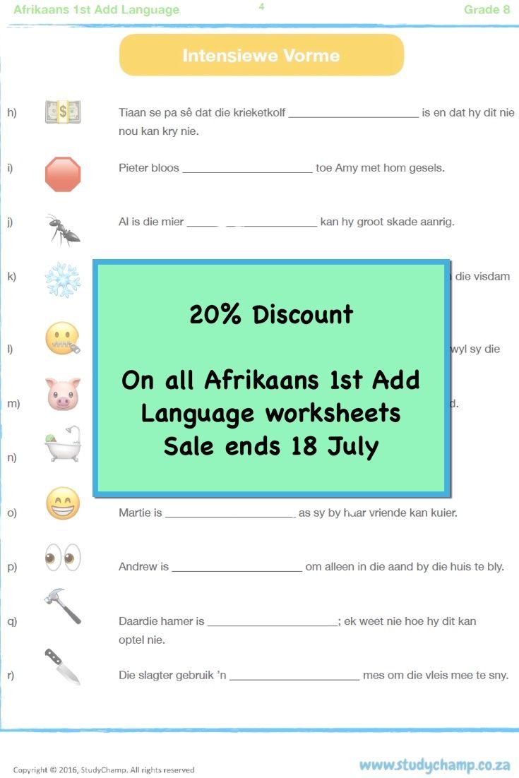 Afrikaans 1st Add Language workbooks - Grade 3 to 8