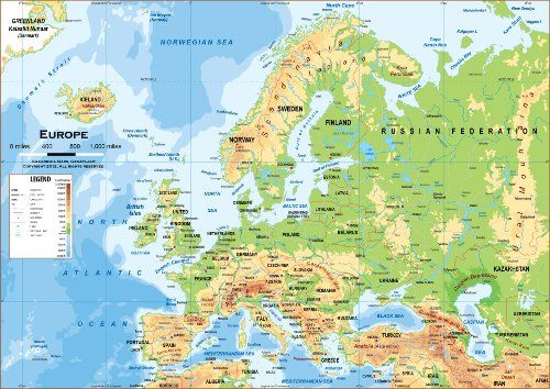 europe physical classroom map wood rail mounting 51 x 36 academia maps