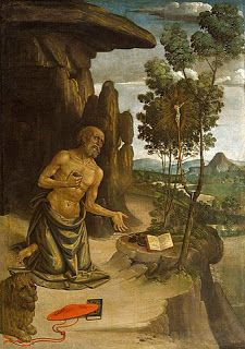 Saint Jerome in the Wilderness by Bernardino Pinturicchio. The 30th of September is the feast day of Saint Jerome. He is a Doctor of the Church and the patron saint of archaeologists; archivists; Bible scholars; librarians; libraries; school children; students; and translators.