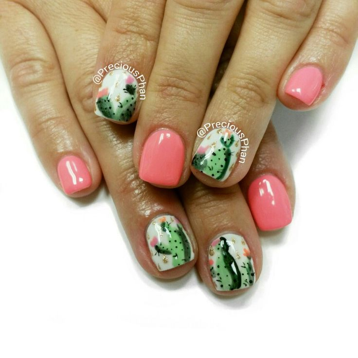Cactus nails. Coral nails. #PreciousPhanNails