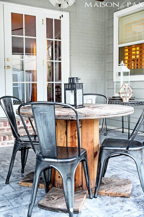 stamped concrete and antiqued brick patio | maisondepax.com.. love the table for outdoor space!