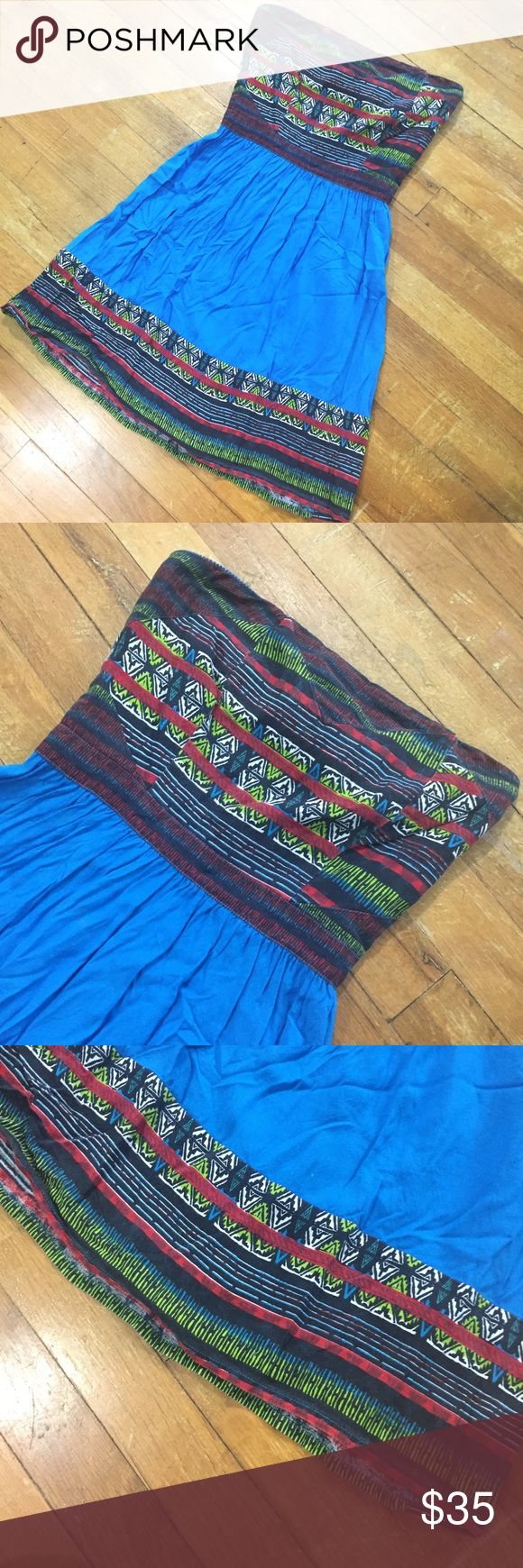 "UO silence + noise blue Aztec mini dress Like new with no flaws! Gorgeous dress that would be perfect with leggings or by itself! Please check measurements!! True to size.       Measurements: 17"" from waist to hem Waist measures 11"" (measured flat) Bust measures 13"" (measured flat) Top to waist measures 9""  Hem measures 23"" (measured flat) Urban Outfitters Dresses Mini"