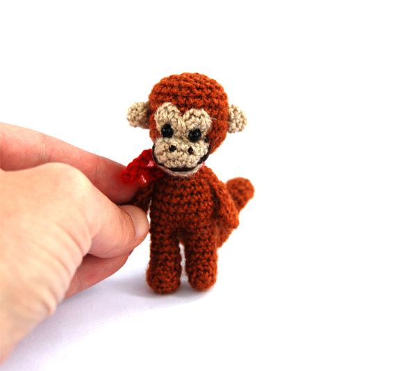 minature monkey tiny crocheted animal mini by tinyworldbycrochAndi, $19.56