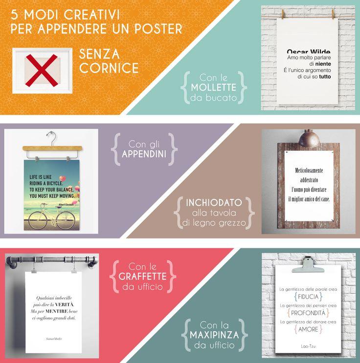 5 modi creativi per appendere un poster senza cornice http://www.youquoteweprint.com/it/14-poster