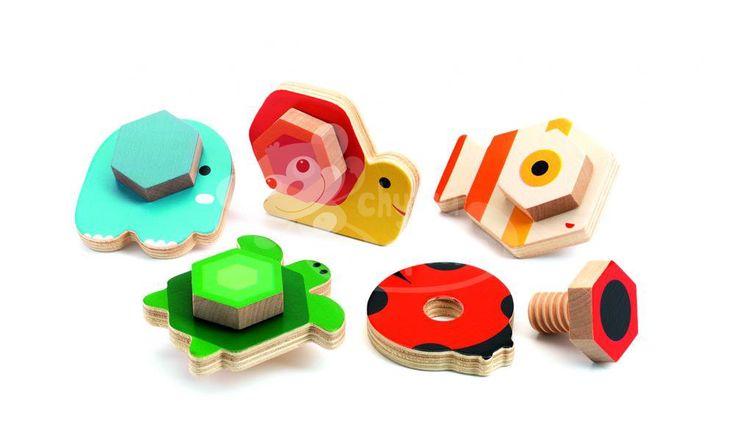 Dřevěná šroubovací hračka - Djeco - Zvířátka