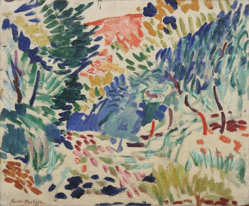 "Landscape at Collioure  Henri Matisse (French, 1869-1954)  Collioure, summer 1905. Oil on canvas, 15 1/4 x 18 3/8"" (38.8 x 46.6 cm). Gift and bequest of Louise Reinhardt Smith. © 2012 Succession H. Matisse, Paris / Artists Rights Society (ARS), New York"